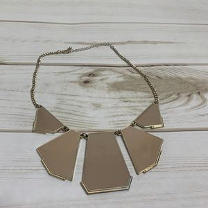 Statement necklace tan and gold